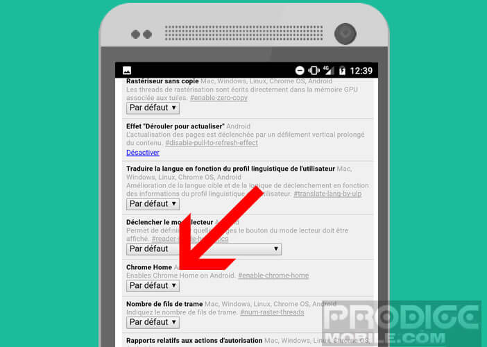 Activer l'option Chrome Home Android