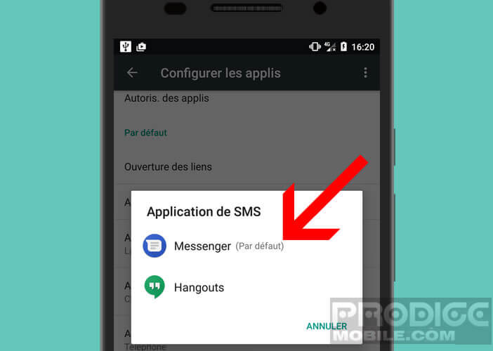 Définir un gestionnaire de SMS par défaut