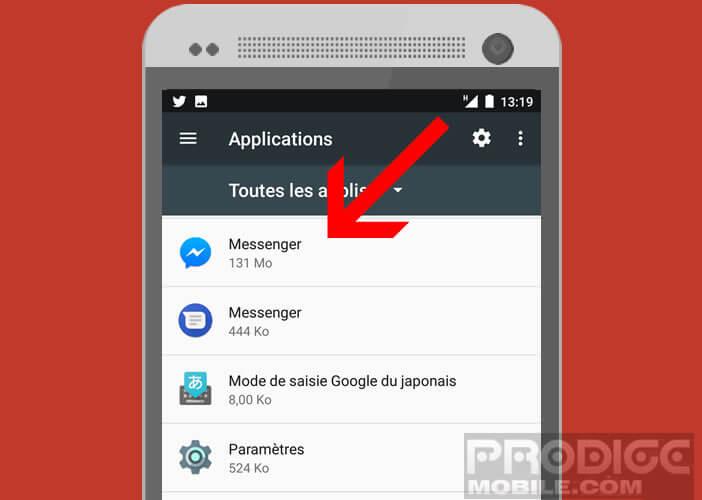 mot de passe messenger facebook android