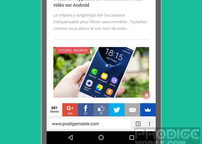 Modifier l'emplacement de la barre d'URL du navigateur mobile Chrome