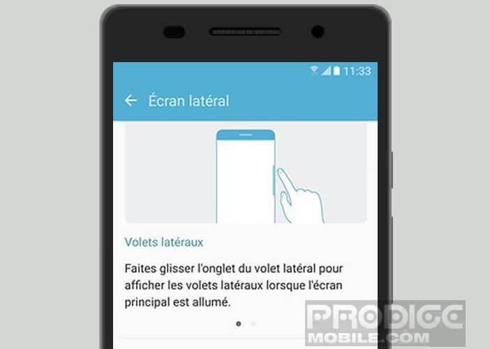 Personnaliser l'écran latéral placé des deux côtés du mobile