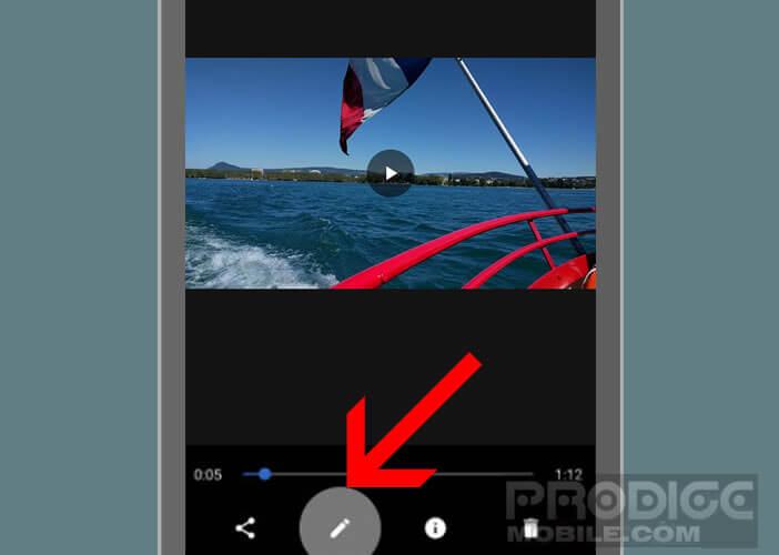 Lancer l'option de retouche de vidéo sur l'appli Google Photos