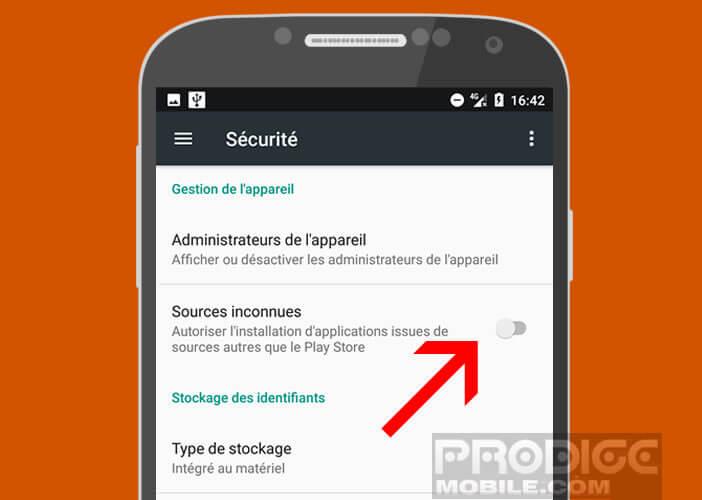 Activer l'option permettant d'installer des applis de sources inconnues