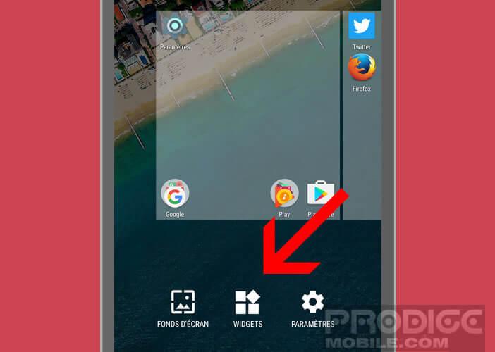 Configurer le widget d'envoi de snap rapide