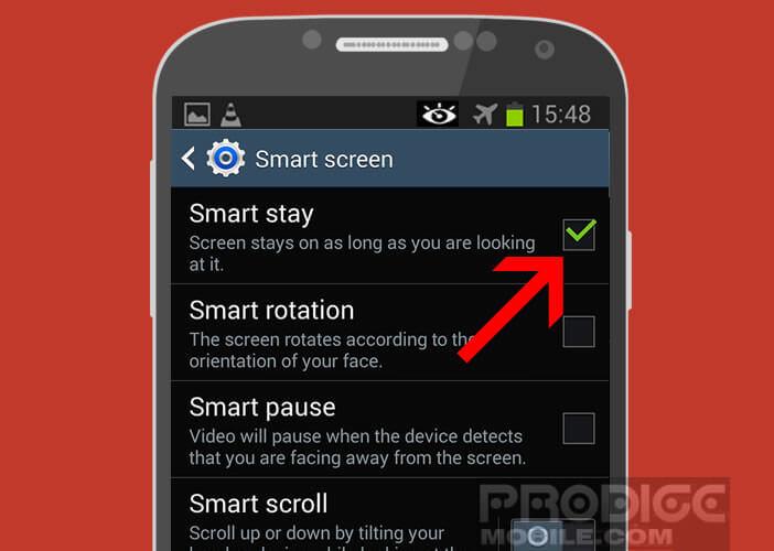 Désactiver la fonction Smart Stay depuis les paramètres
