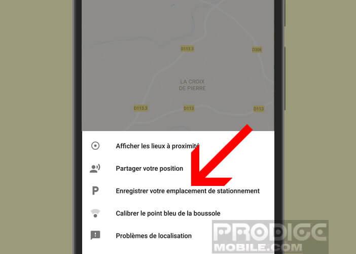 Option de Google Maps pour ne plus oublier où on a garé sa voiture