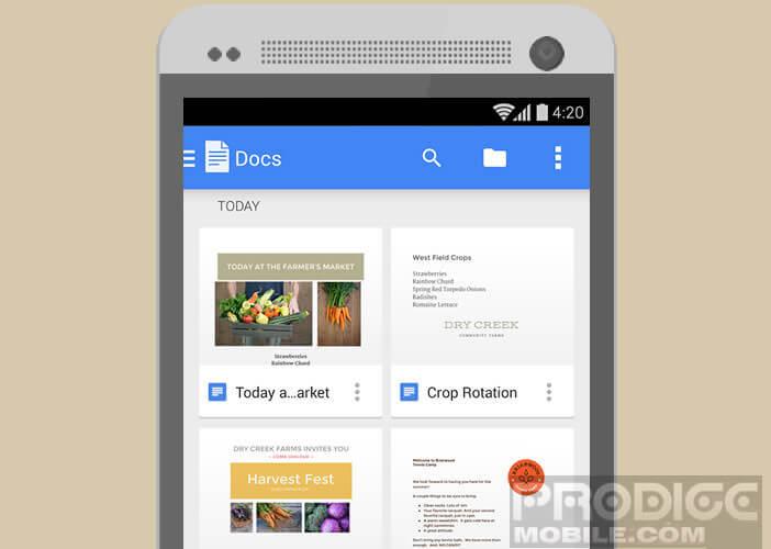 Editeur de texte pour smartphone et tablette Android