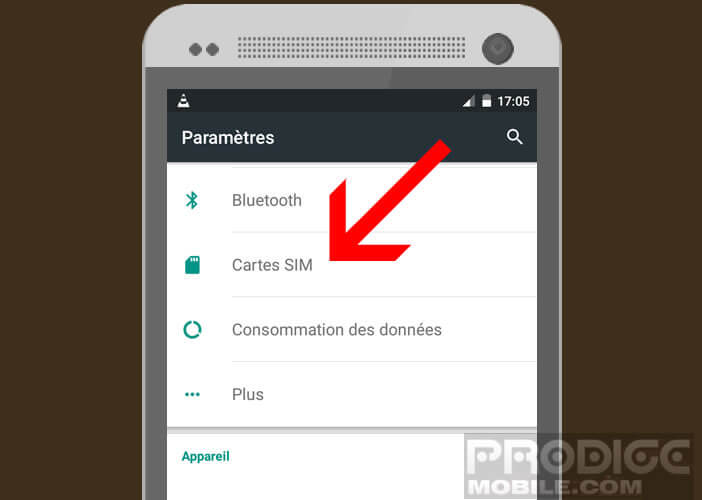 Ouvrir le gestionnaire de cartes SIM sur Android