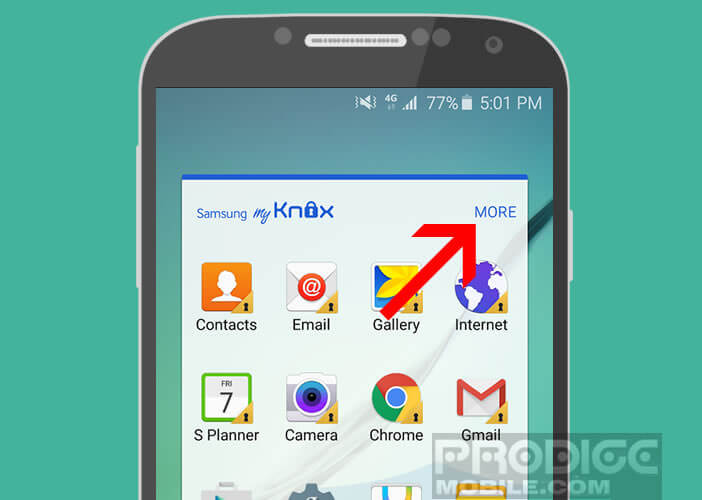 Modifier les paramètres de l'application Knox de Samsung