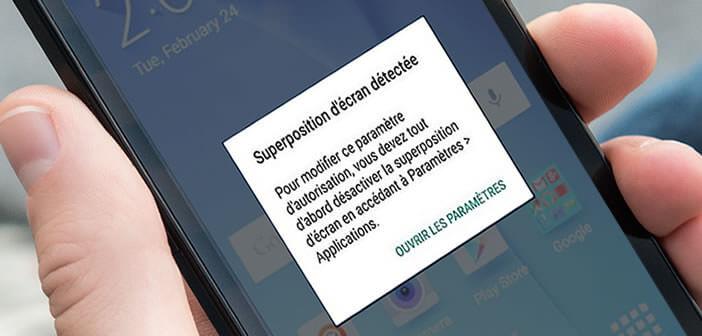 Message d'erreur suppression d'écran détectée sur Android