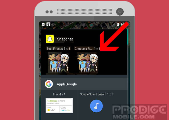 Placez le widget Friend de Snpachat sur la home de votre mobile