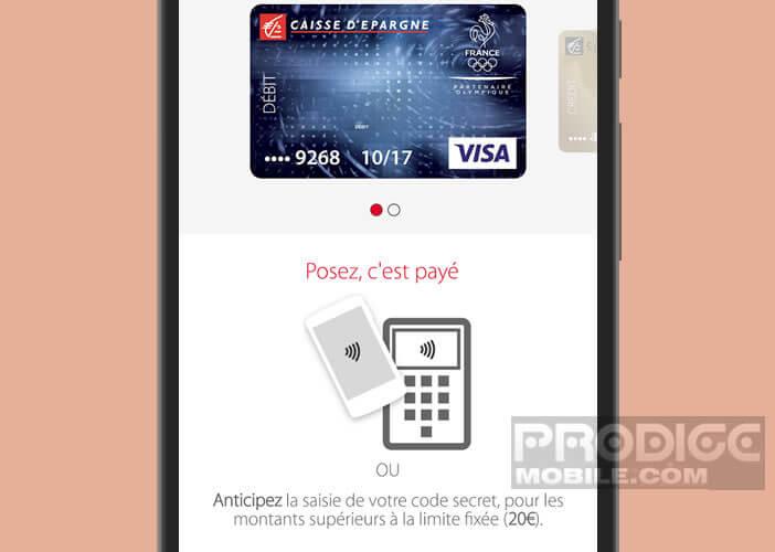 Entrer votre code PIN pour les achats de plus de 20 euros