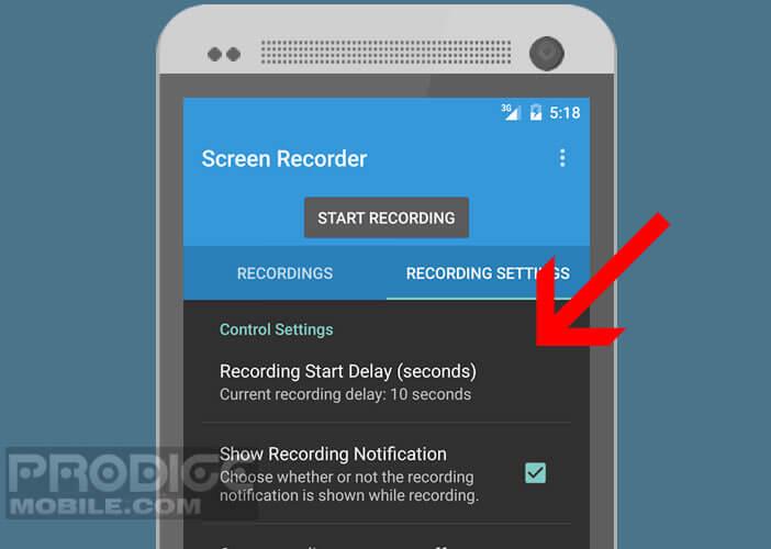 Lancer l'enregistrement de votre écran de mobile en différé