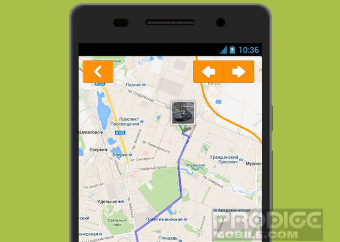 Fonction GPS de l'application CamOnRoad