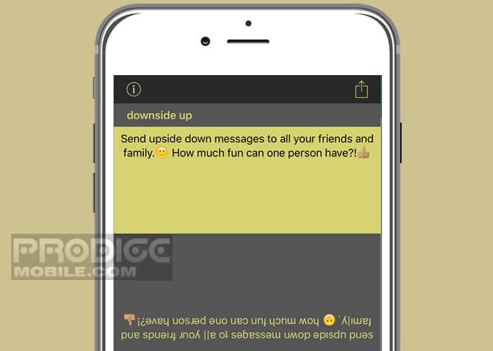 Rédiger un message avec le texte à l'envers