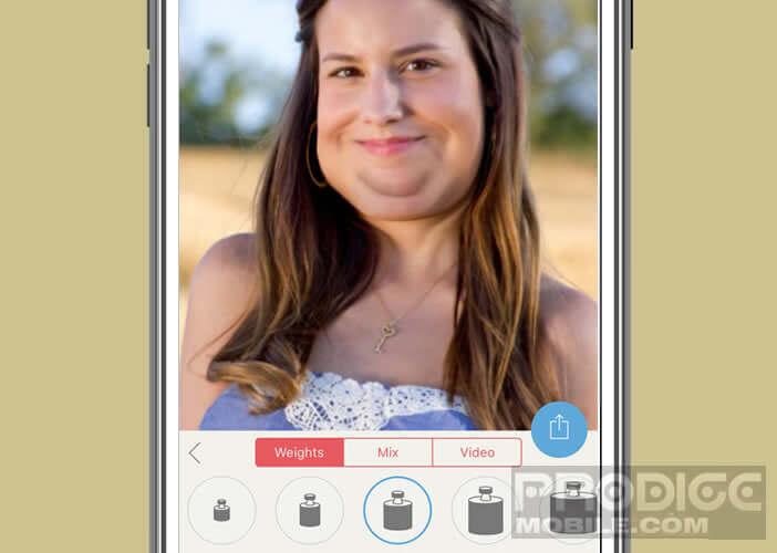 Outil afin de modifier la forme d'un visage sur un iPhone