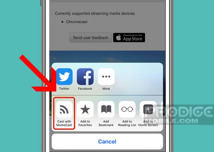 MomoCast est une extension pour afficher un onglet sur un grand écran