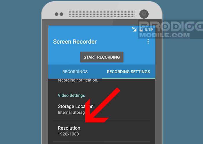 Modifier la résolution et la définition de la vidéo capturée
