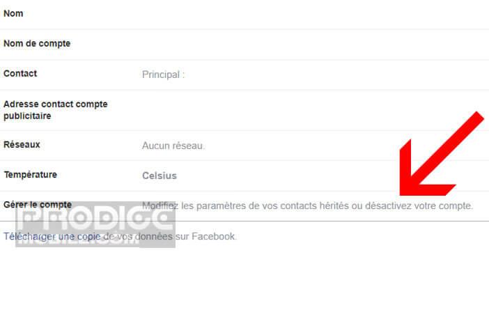Désactiver votre compte Facebook depuis l'interface général