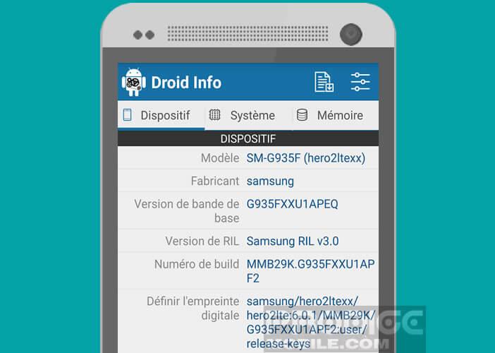 Utilitaire Droid Hardware Info pour obtenir des infos sur le CPU