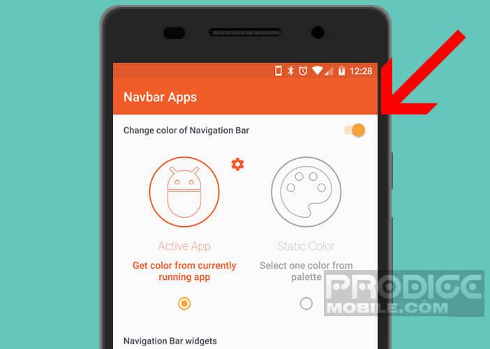 Activer la fonction de personnalisation de Navbar Apps