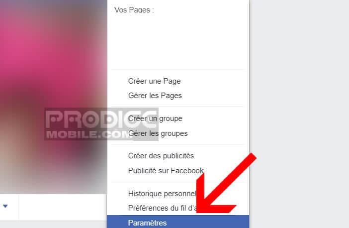 Ouvrez les paramètres Facebook à partir de votre navigateur web