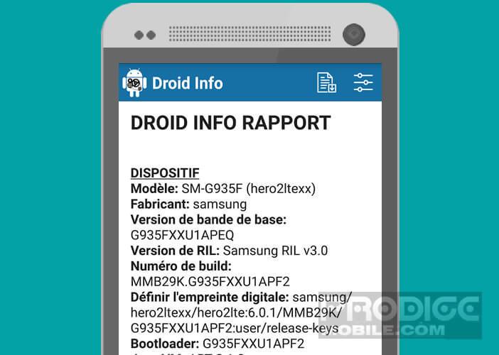 Rapport complet de tous les composants intégrés dans Android