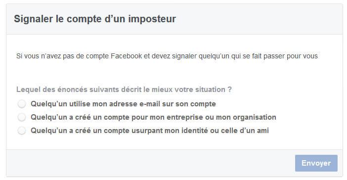 Signaler le compte d'un imposteur auprès des services de Facebook