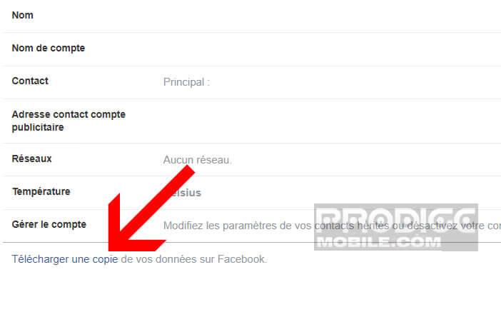 Télécharger une copie des données de votre compte Facebook