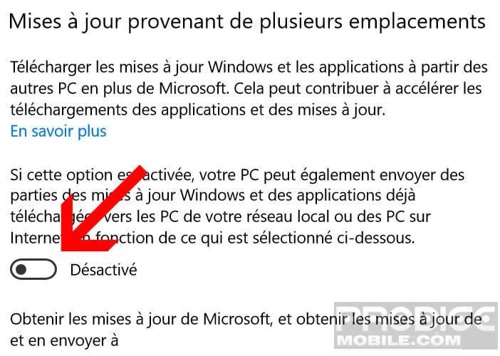 Bloquer l'envoi des mises à jour Windows 10 sur internet