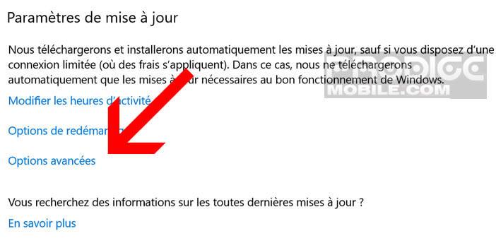Modifier les paramètres avancés de Windows Update