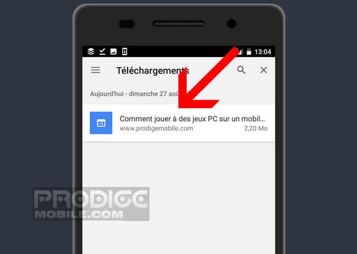 Ouvrir une page sauvegardée depuis la rubrique téléchargement de Chrome