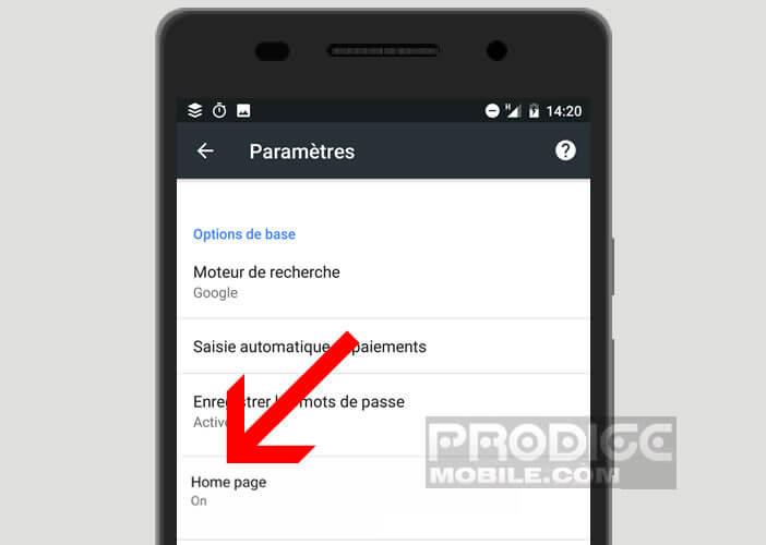Activer les paramètres Home Page de Google Chrome