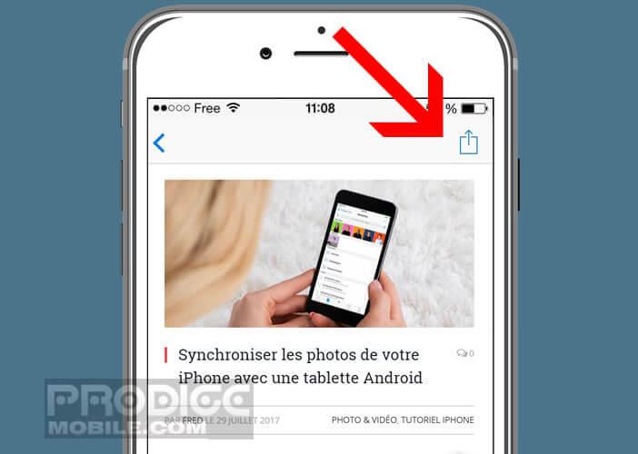 Cliquer sur le bouton partager pour lancer la création du fichier PDF