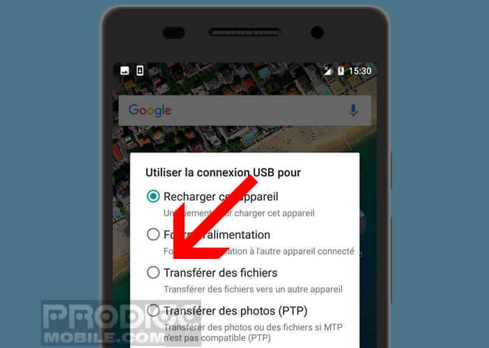 Activer le transfert de fichiers ou MTP sur Android