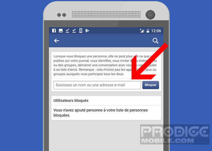 Bloquer une personne ou un contact sur l'interface Facebook