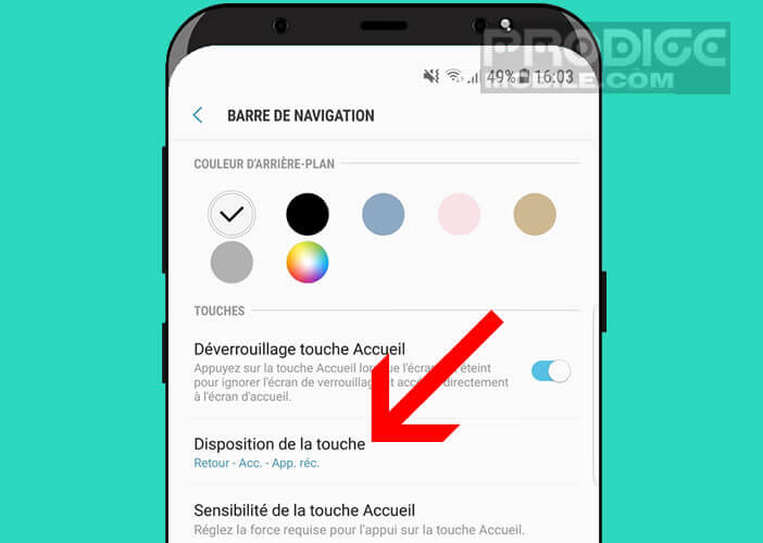 Modifier la disposition des touches du Samsung Galaxy S8
