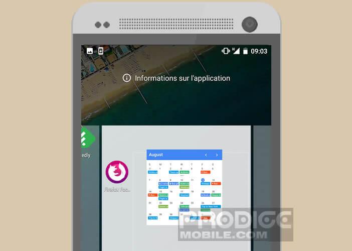 Placer le widget sur une partie vide du bureau d'accueil de votre mobile