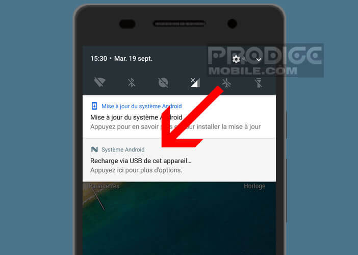 Connecter un mobile à un ordinateur via le volet de notifications