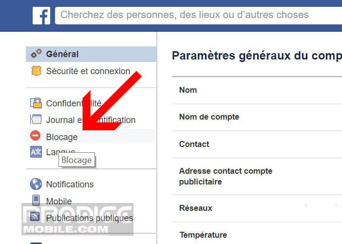 Désavouer un contact Facebook depuis un navigateur web