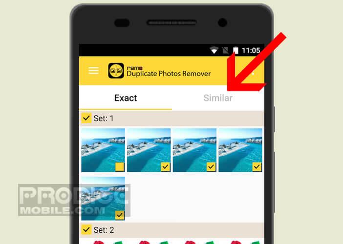 Lancer la détection d'images similaires sur votre appareil Android