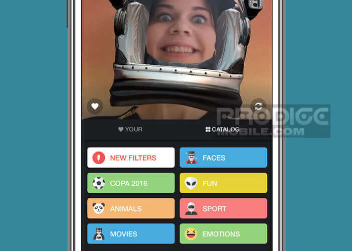 Sélectionnez l'un des effets vidéo pour créer des selfies délirants