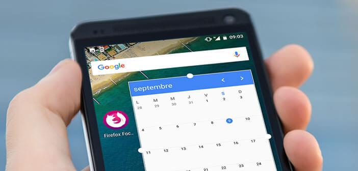 La procédure d'installation manuelle d'un widget sur le bureau d'un smartphone Android