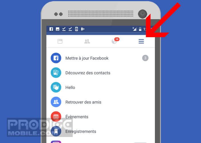 Accéder au menu Facebook sur l'application Android