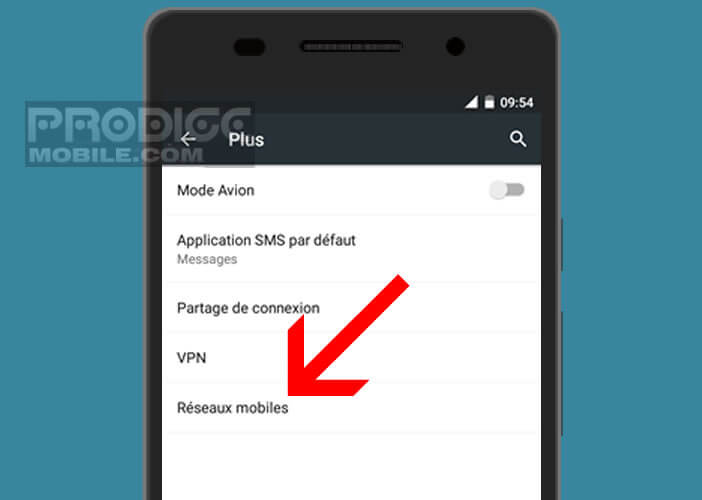 Ouvrez les paramètres réseau mobile de son smartphone