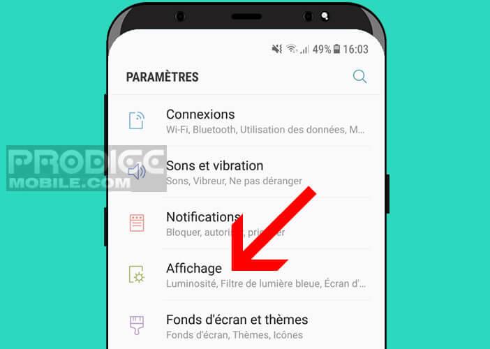 Accéder aux paramètres d'affichage du Galaxy S8