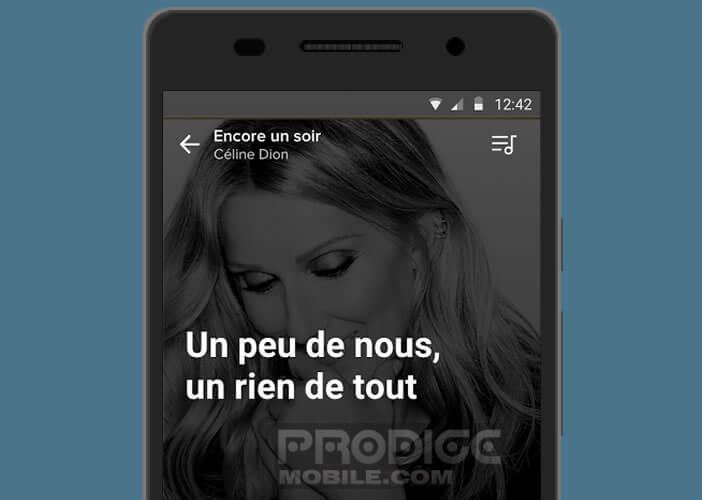 Afficher les paroles des chansons dans l'application Musixmatch
