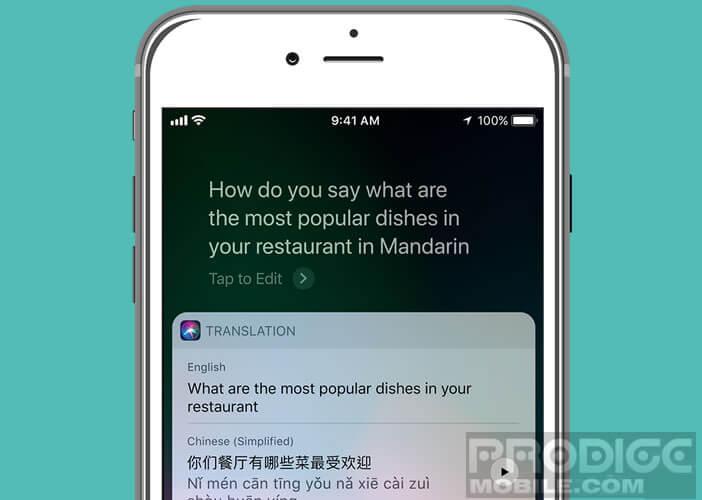 L'assistant vocal Siri traduit des phrases dans cinq langues