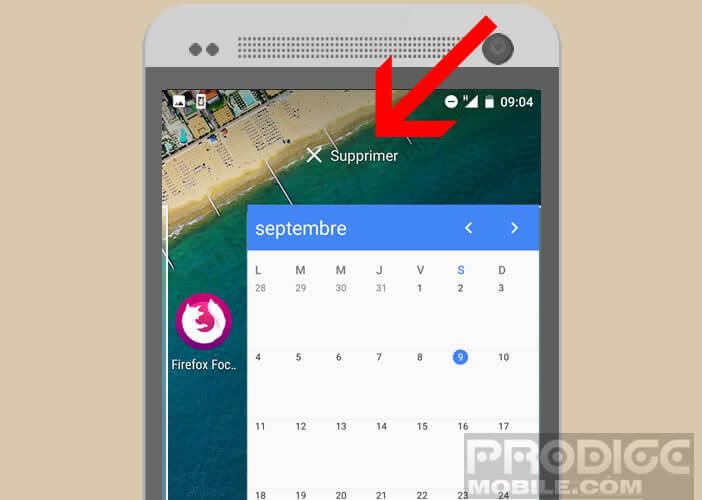 Retirer la fenêtre du widget de la page d'Android