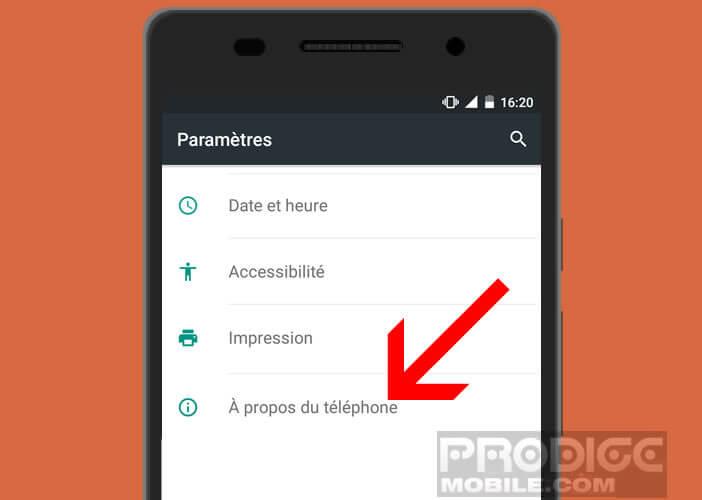 Paramètre à propos du téléphone Android